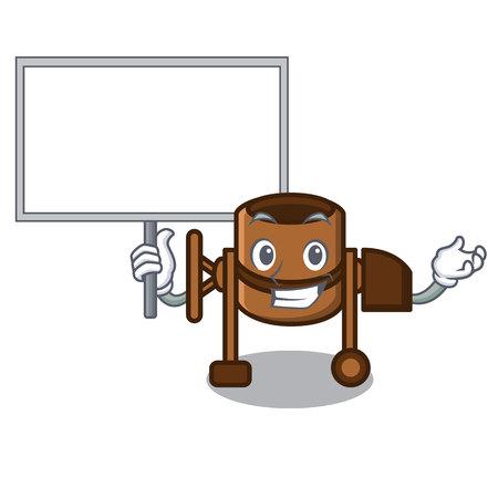 Bring board concrete mixer character cartoon vector illustration Çizim