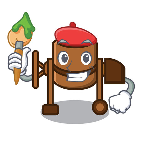 Artist concrete mixer character cartoon vector illustration Çizim