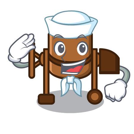 Sailor concrete mixer character cartoon vector illustration Çizim