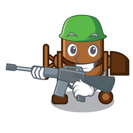 Army concrete mixer character cartoon vector illustration Çizim