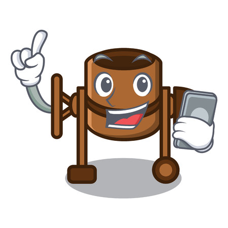 With phone concrete mixer character cartoon vector illustration