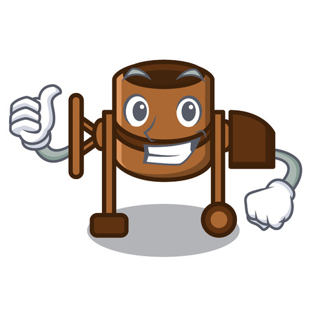 Thumbs up concrete mixer character cartoon vector illustration Çizim