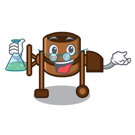 Professor concrete mixer character cartoon vector illustration