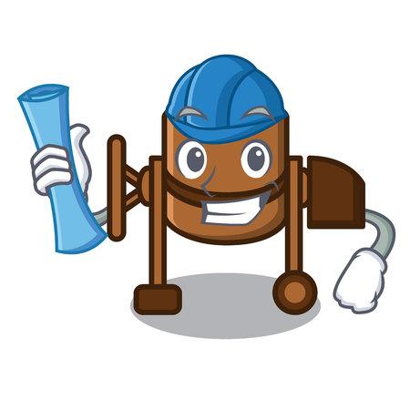 Architect concrete mixer character cartoon vector illustration
