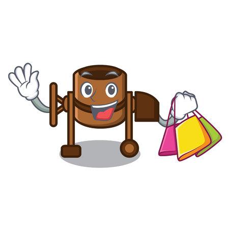 Shopping concrete mixer character cartoon vector illustration