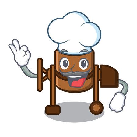 Chef concrete mixer character cartoon vector illustration
