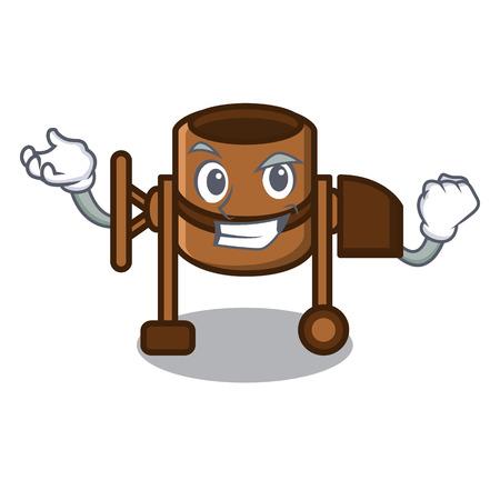 Successful concrete mixer character cartoon vector illustration Çizim