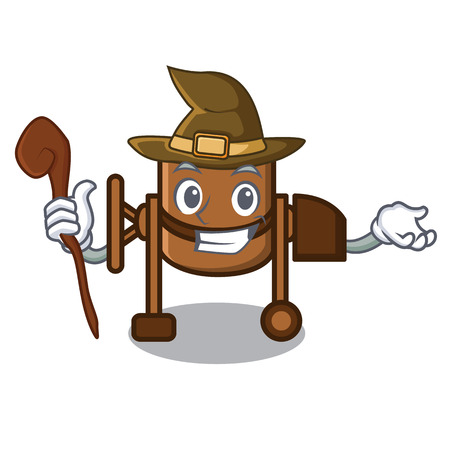 Witch concrete mixer mascot cartoon vector illustration