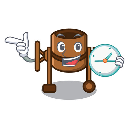With clock concrete mixer character cartoon vector illustration