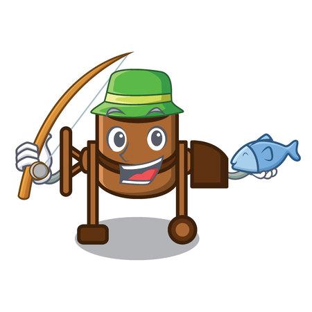 Fishing concrete mixer mascot cartoon vector illustration