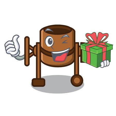 With gift concrete mixer mascot cartoon vector illustration Çizim