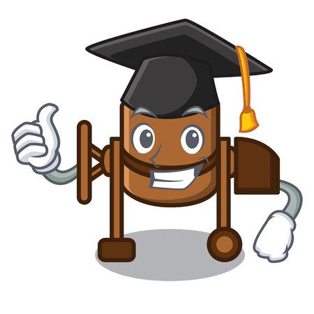 Graduation concrete mixer character cartoon vector illustration