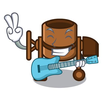 With guitar concrete mixer mascot cartoon vector illustration Çizim