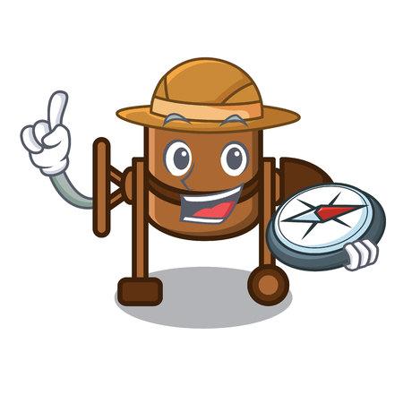 Explorer concrete mixer mascot cartoon vector illustration
