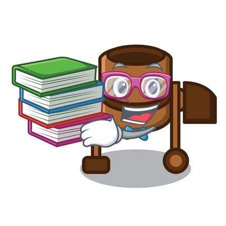 Student with book concrete mixer mascot cartoon vector illustration
