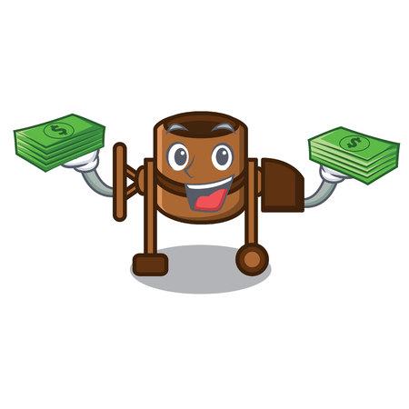 With money concrete mixer mascot cartoon vector illustration