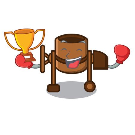 Boxing winner concrete mixer mascot cartoon vector illustration