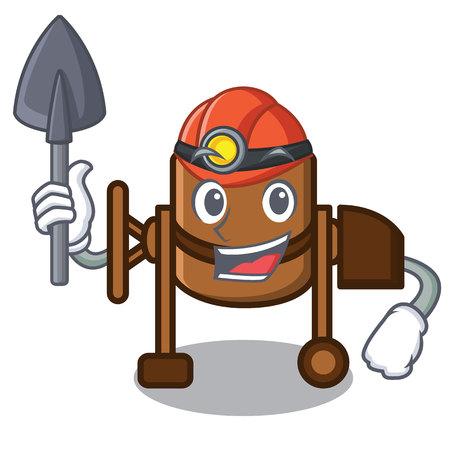 Miner concrete mixer mascot cartoon vector illustration