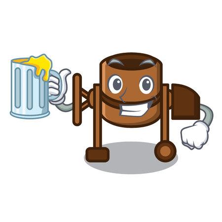 With juice concrete mixer mascot cartoon vector illustration