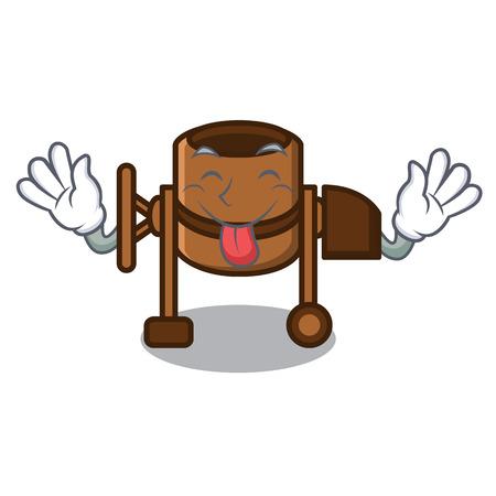 Tongue out concrete mixer mascot cartoon vector illustration