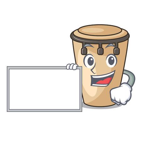 With board conga character cartoon style vector illustration Vektoros illusztráció