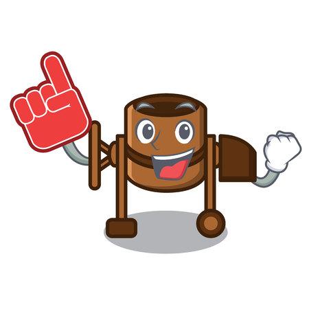 Foam finger concrete mixer mascot cartoon vector illustration Çizim