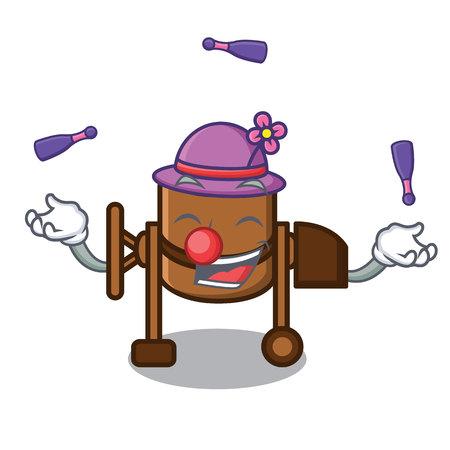 Juggling concrete mixer mascot cartoon vector illustration Çizim