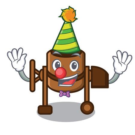 Clown concrete mixer mascot cartoon vector illustration Çizim