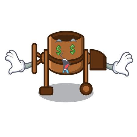 Money eye concrete mixer mascot cartoon vector illustration