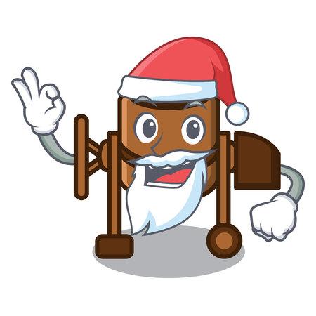 Santa concrete mixer mascot cartoon vector illustration