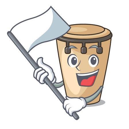 With flag conga mascot cartoon style vector illustration Vektoros illusztráció