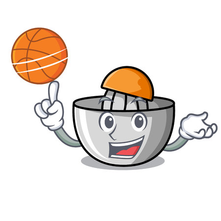 With basketball juicer character cartoon style vector illustration