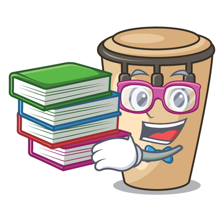 Student with book conga mascot cartoon style vector illustration