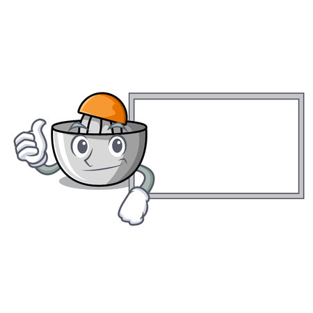 Thumbs up with board juicer character cartoon style vector illustration Illustration