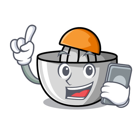 With phone juicer character cartoon style vector illustration