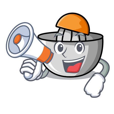 With megaphone juicer character cartoon style vector illustration