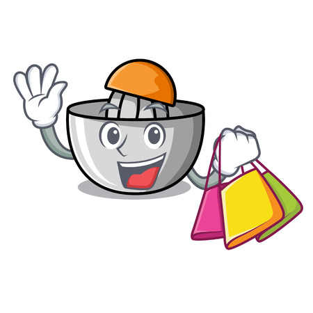 Shopping juicer character cartoon style vector illustration
