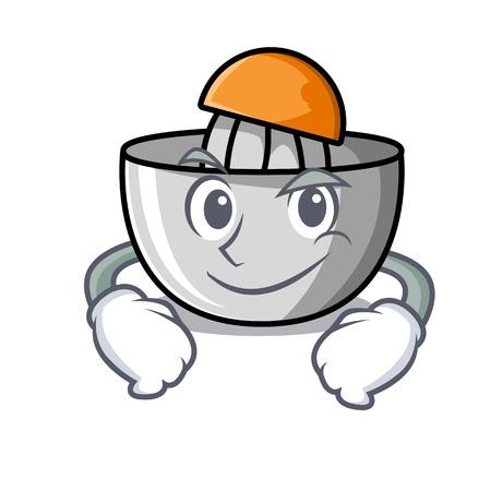 Smirking juicer character cartoon style vector illustration