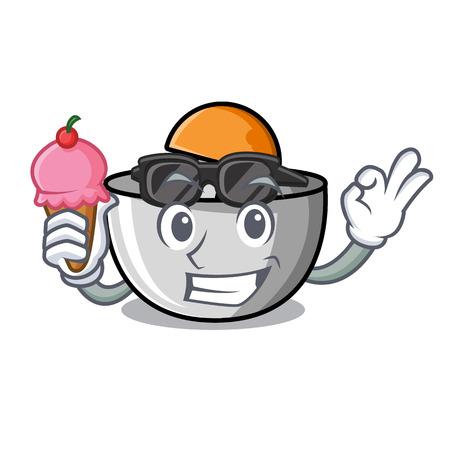 With ice cream juicer character cartoon style vector illustration Illustration