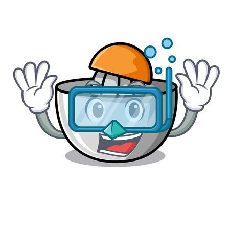 Diving juicer character cartoon style Stock Illustratie