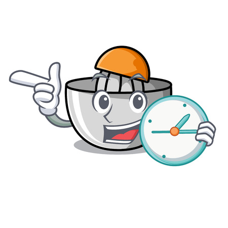 With clock juicer character cartoon style vector illustration