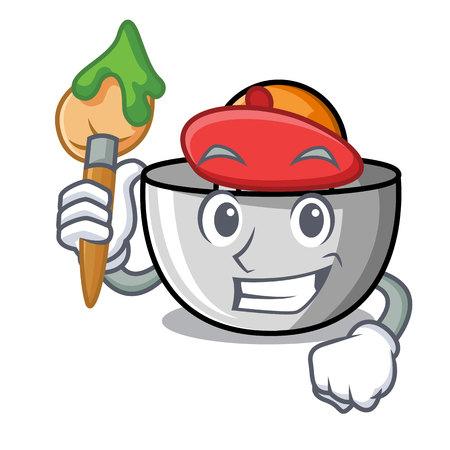 Artist juicer character cartoon style vector illustration