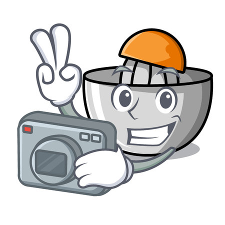 Photographer juicer mascot cartoon style vector illustration Stock Vector - 106358475