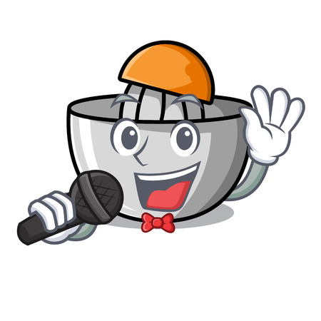 Singing juicer mascot cartoon style vector illustration