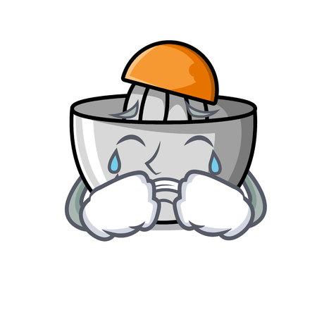 Crying juicer mascot cartoon style vector illustration Illustration