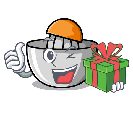 With gift juicer mascot cartoon style vector illustration Ilustração