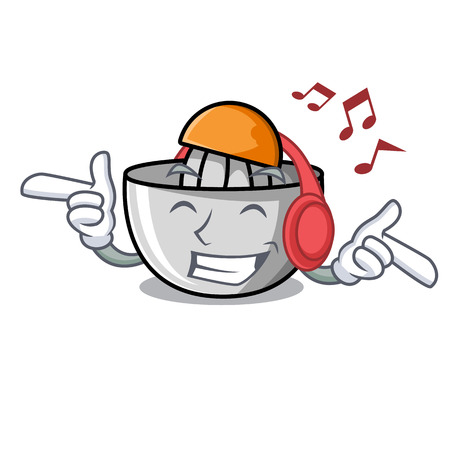 Listening music juicer mascot cartoon style vector illustration