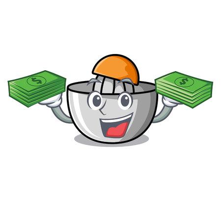 With money juicer mascot cartoon style vector illustration
