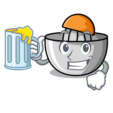 With juice juicer mascot cartoon style vector illustration