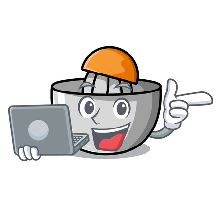 With laptop juicer character cartoon style